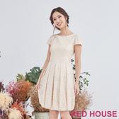 【RED HOUSE 蕾赫斯】蕾絲花苞洋裝(金色)