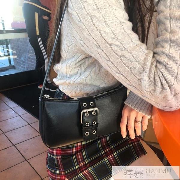 包包2020新款潮網紅百搭復古設計系皮扣小眾機車單肩腋下包法棍包  母親節特惠