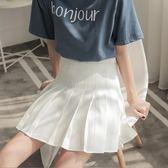 短裙夏季女高腰包臀A字裙學生半身裙復古修身顯瘦白色百褶裙   LannaS