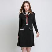 中大尺碼~氣質翻領長袖連衣裙(L~5XL)