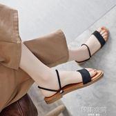 一鞋兩穿涼鞋女夏新款平底簡約學生百搭黑色沙灘拖鞋羅馬女鞋 韓語空間