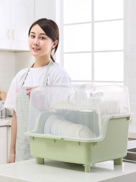放碗筷瀝水架家用廚房帶蓋碗盤餐具收納箱瀝水塑料碗櫃大號置物架 亞斯藍