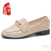 樂福鞋春夏低跟方頭單鞋女淺口平底英倫復古小皮鞋金屬扣韓版懶人樂福鞋