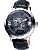 KATINO 立體雕紋漸層色縷空機械腕錶-黑 K5851DSL