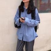 襯衫 2020新款韓系秋裝復古百搭顯瘦口袋上衣寬鬆純色長袖襯衫外套女  免運快速出貨