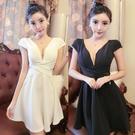 小清新夜場女裝性感顯瘦修身夜電V領低胸洋裝酒吧裙子短裙禮服