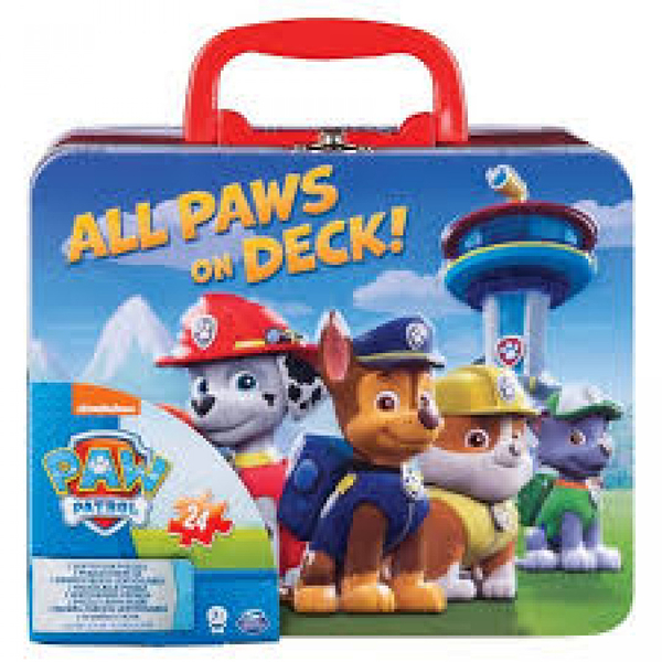 《 汪汪隊立大功 paw patrol 》手提式鐵盒雙組合折光拼圖 / JOYBUS玩具百貨
