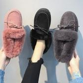 棉鞋女 毛毛棉鞋女2019秋冬外穿加絨厚底保暖平底一腳蹬黑色豆豆鞋上班  艾森堡家居