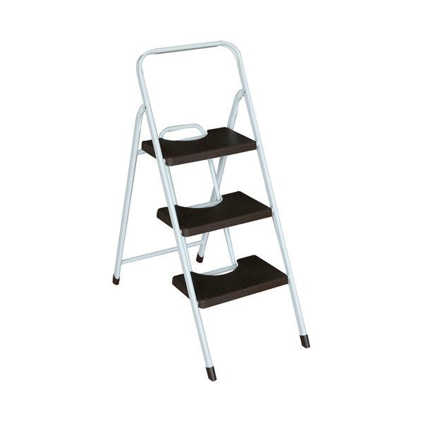 特力屋三階彩色寬踏板鐵管梯 咖啡色