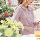 《AB15017-》高含棉造型領花卉刺繡襯衫上衣 OB嚴選