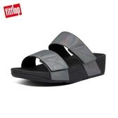 新降66折【FitFlop】MINA IRIDESCENT SLIDES 金屬光澤鞋面寬帶涼鞋-女(靚黑色)