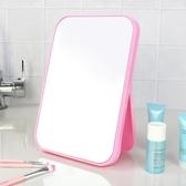 鏡子摺疊化妝鏡台式隨身鏡加厚高清時尚簡約鏡子學生便攜大梳妝鏡【免運】