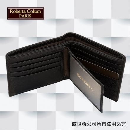 【Roberta Colum】諾貝達 男用皮夾 短夾 專櫃皮夾 進口牛皮配乳膠短夾 (28905-黑色)【威奇包仔通】