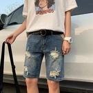 設計感港風ins潮流2021夏季牛仔短褲男寬松直筒休閑破洞復古韓版