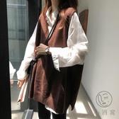 外穿背心馬甲女秋冬寬鬆日系復古慵懶風毛衣針織衫外套兩件套【小酒窩服飾】