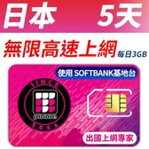 【TPHONE上網專家】日本移動 5天無限上網 每天前面3GB支援4G高速 使用SOFTBANK基地台 最大代理商