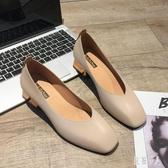 粗跟高跟鞋單鞋女2019夏秋季女鞋英倫風百搭粗跟高跟鞋奶奶瑪麗珍工作鞋子 PA8059『紅袖伊人』