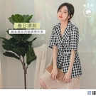 《EA2952-》高含棉清新韓系五分袖格紋西裝外套-附綁帶 OB嚴選