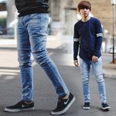 牛仔褲 韓國製立體抓皺刷白防潑水布面合身牛仔褲【NB0731J】