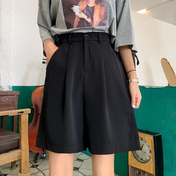 黑色休閑褲女夏季韓版ins百搭寬鬆高腰顯瘦闊腿褲五分西裝褲