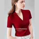 低胸深V短袖T恤棉緊身性感鎖骨素色上衣(三色S-3XL可選)/設計家 AL30759