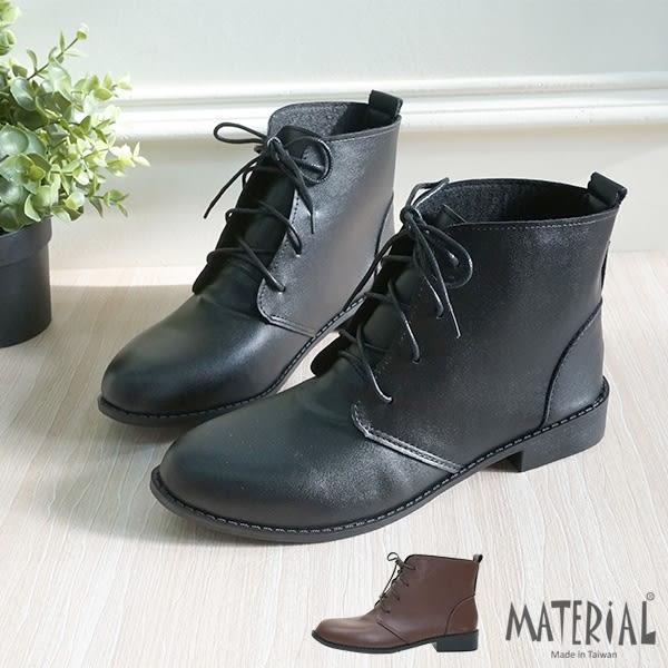 短靴 簡約綁帶平底短靴 T8020
