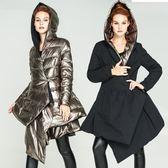 羽絨夾克-連帽冬季時尚兩面穿不規則下擺女外套73pv24[巴黎精品]