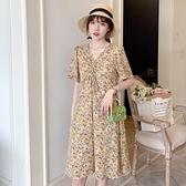 洋裝 大碼夏裝2021年新款胖妹妹顯瘦連身裙雪紡V領寬鬆遮肚上衣中長款