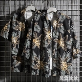 2019夏季新款短袖花襯衫男士加肥加大碼寬松襯衣潮流胖子沙灘寸衫wl5270[黑色妹妹]