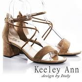 ★2018春夏★Keeley Ann韓式風潮~交叉細帶真皮粗跟涼鞋(棕色) -Ann系列