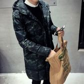 夾克外套-連帽時尚個性迷彩中長版夾棉男外套2色73qa24[時尚巴黎]