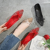 平底鞋女紅色單鞋女士婚禮新娘鞋結婚敬酒鞋紅色婚慶鞋子孕婦紅鞋 聖誕節全館免運