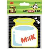 3M 便條貼 625S-4 造型便條紙 *牛奶圖案*(顏色隨機)