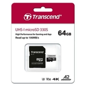 Transcend 創見 micro SD 330S 64G 遊戲機適用 記憶卡 ( U3 / V30 / A2 / 4K )