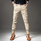 夏季薄款彈力工裝褲男束腳褲多口袋修身耐磨戶外軍褲休閒迷彩褲子 快速出貨