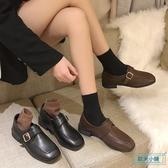 方頭鞋 加絨小皮鞋女英倫復古配裙子單鞋ins潮2019新款平底方頭平底鞋女 歐米小鋪