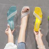 高跟拖鞋女外穿時尚百搭2019新款夏季涼拖粗跟透明水晶跟女鞋 QG30993『優童屋』