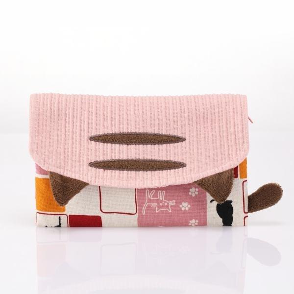 粉色啵啵貓收納包/護照夾/收納袋/拼布包包