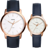 FOSSIL Minimalist 簡約對錶-銀x藍色錶帶 FS5371+ES4299