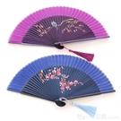 中國風復古女式摺扇古典竹骨真絲扇可摺便攜舞蹈扇日式和風女扇子 618購物節