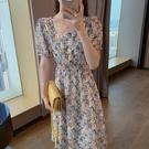 方領洋裝 大碼女裝2021年新款夏裝胖妹妹法式收腰顯瘦雪紡長裙女碎花連身裙 寶貝 免運