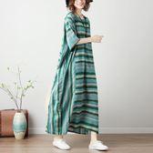 店長推薦胖妹妹春裝大碼連身裙減齡洋氣2019夏季新款藏肉條紋印花過膝長裙