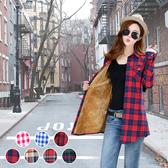 團購 抗寒保暖 頂級格紋加絨修身長版襯衫外套 現貨供應
