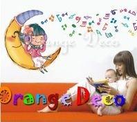 壁貼【橘果設計】月亮女孩 DIY組合壁貼/牆貼/壁紙/客廳臥室浴室幼稚園室內設計裝潢