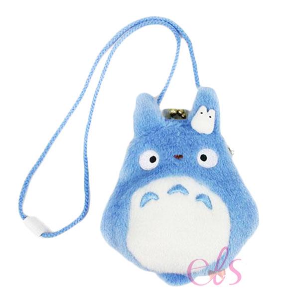 日本 宮崎駿吉卜力 龍貓TOTORO 豆豆龍掛飾絨毛零錢包 藍 ☆艾莉莎ELS☆