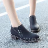 韓版短靴女靴子女鞋時尚百搭中跟粗跟小皮鞋踝靴單靴