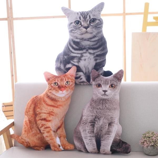 仿真INS貓咪靠墊辦公室抱枕飄窗靠墊沙發床上睡覺可愛靠枕枕頭