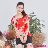 【RED HOUSE 蕾赫斯】花朵設計款上衣(橘紅色)