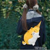 側背包 胸包韓版少女心可愛小圓柴胸包帆布卡通可愛萌 小狗側背包 探索先鋒
