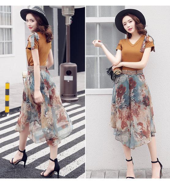 找到自己 G5 韓國時尚 夏季 女裝 短袖 雪紡 長裙 兩件套 大擺裙 T恤 A字裙 套裝